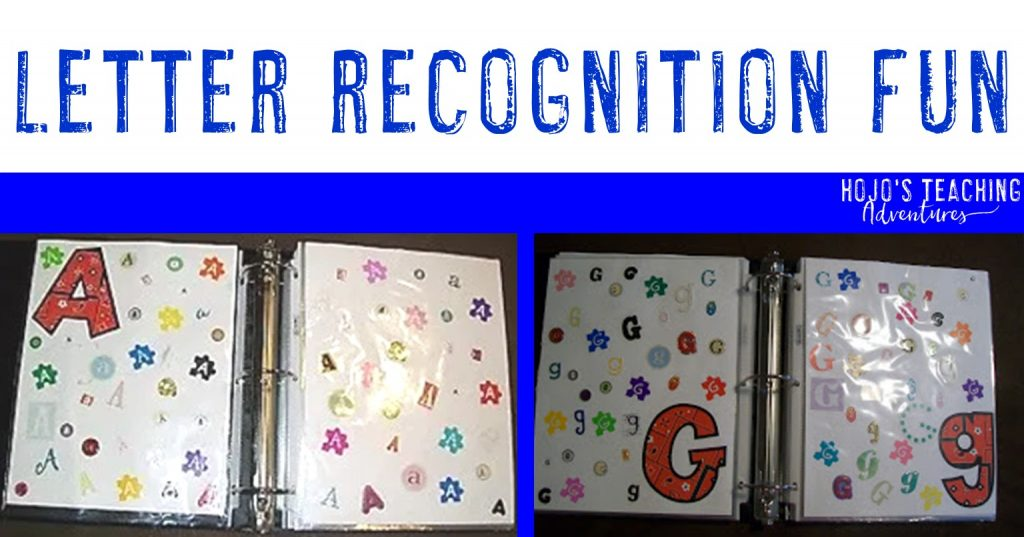 Letter Recognition Fun with an A and G page of a sticker book shown