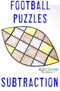 Click to purchase Subtraction Football Puzzles!