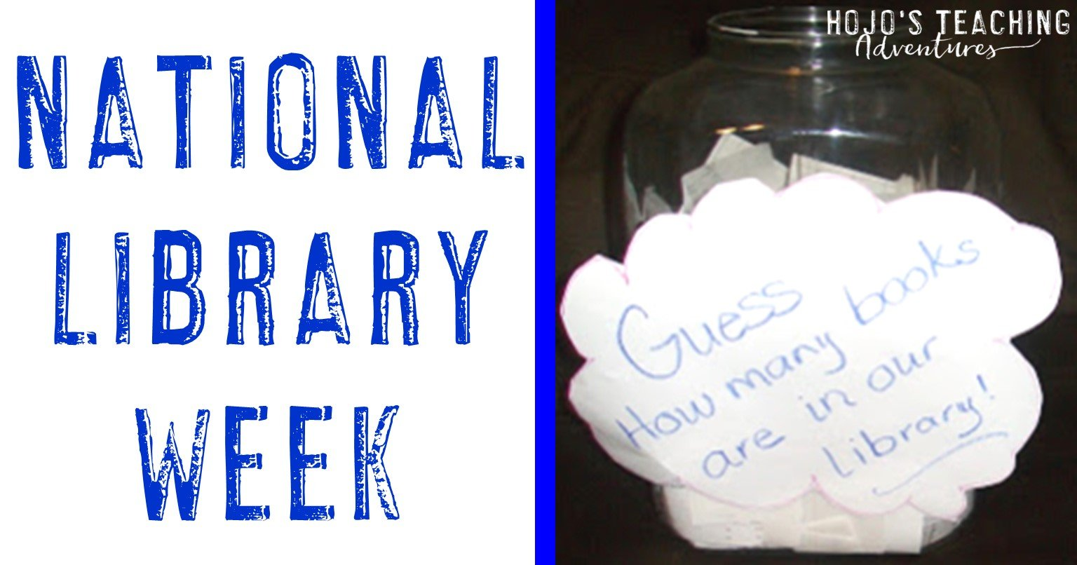 National Library Week with a jar for guesses on how many books are in the school library