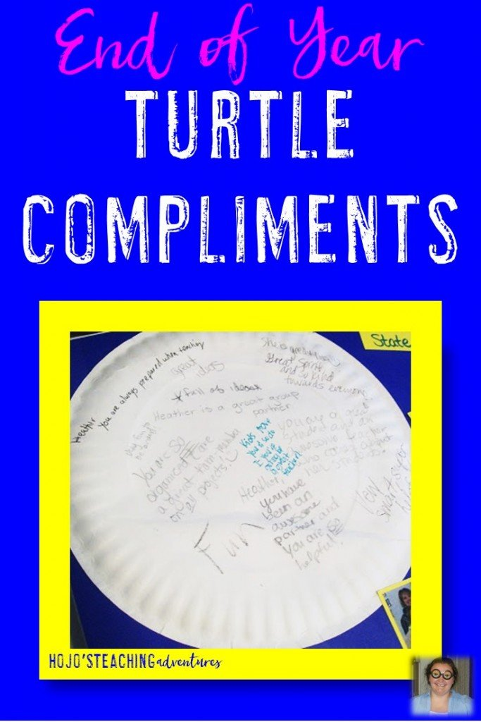 Are you looking for an engaging, hands-on activity for the end of the school year? How about an idea that students will treasure for years to come? Then try turtle compliments! They are a great way to end the last day of school in the 2nd, 3rd, 4th, 5th, 6th, 7th, 8th, 9th, 10th, 11th, or 12th grade classroom! {Heck, the blogger even had fun doing this activity in college!}