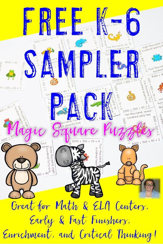 Do you want a free set of Magic Square Puzzles that can be used in your Kindergarten, 1st, 2nd, 3rd, 4th, 5th, or 6th grade classroom or home school? Then you're going to love these place value, subtracting, rounding, missing addends, blends & digraphs, and irregular verbs Magic Square Puzzles! Click through now to see how you can get these engaging math & literacy centers or stations for FREE! They're a fun classroom game! {K, first, second, third, fourth, fifth, sixth graders}