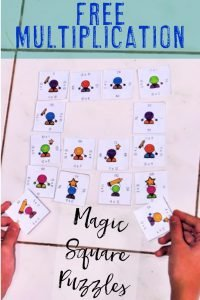 Free multiplication Magic Square Puzzle for critical thinking practice in elementary classrooms or home school rooms. This critical thinking multiplication activity provides hands on practice for numbers 10, 11, and 12. The multiplication freebie is a great math center activity for 3rd, 4th, and 5th grade. Great for math centers, stations, fast or early finishers, gifted & talented, or more! A great puzzle game with differentiated options. {third, fourth, fifth graders}
