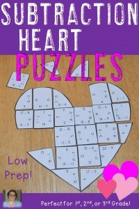 Valentine's Day Subtraction Heart Puzzles - These puzzles are perfect for math centers during Valentine's Day week. Each of the three puzzles will have students answer 36 different subtraction problems within 20. They're perfect for first, second, or third grade students. Use them for early or fast finishers, review, enrichment, GATE, critical thinking, centers, and more! Click through to pick yours up today! $ {1st, 2nd, or 3rd grade}
