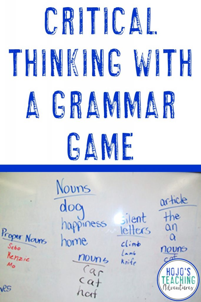 critical thinking with a grammar game