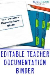 Editable Teacher Documentation binder shown in action