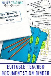 Editable Teacher Documentation Printables