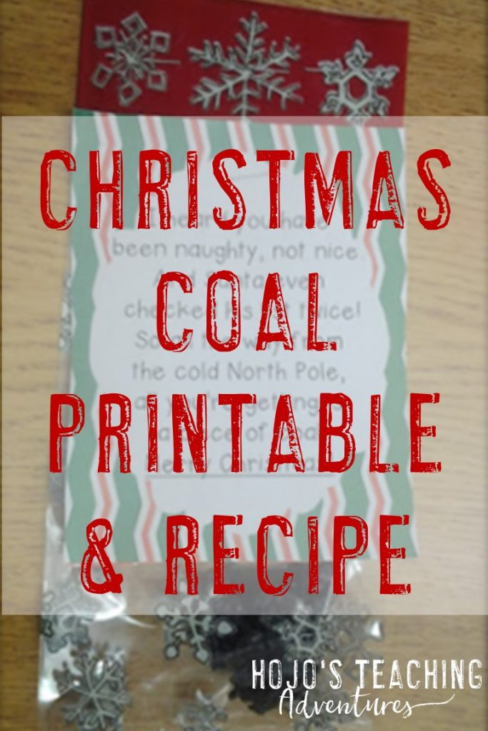 christmas coal printable & recipe