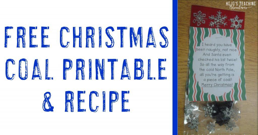 free christmas coal printable & recipe