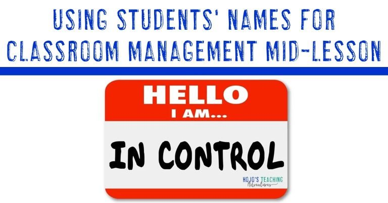 using students' names for classroom management mid-lesson