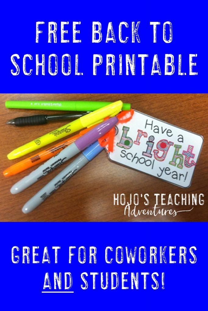 "Check out this FREE Back to School Printable! Simply download, print, and affix your favorite ""bright"" treat. Flair pens, highlighters, or pencils are all great options. These make great gifts for your students on the first day of school or during open house. Or give them to your coworkers as a ""welcome back from summer"" gift. Either way - this freebie gift is sure to be a hit!"