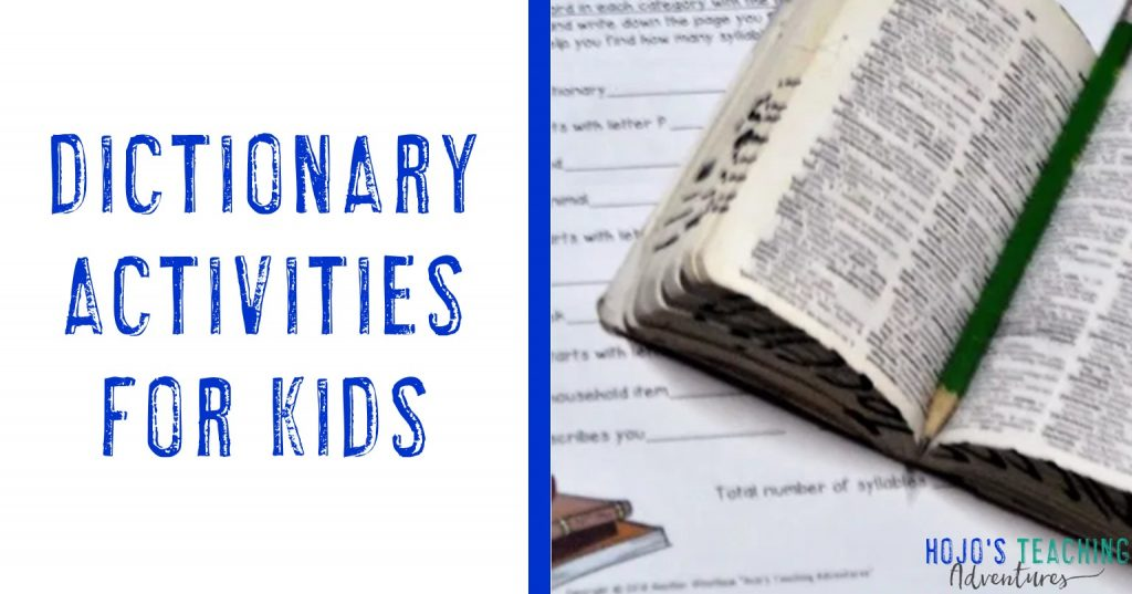 dictionary activities for kids