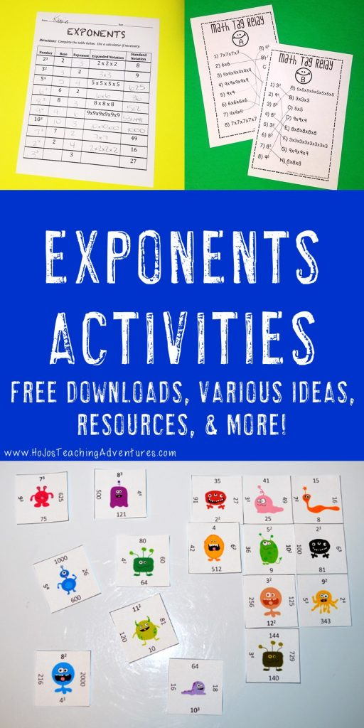 exponents activities - in action graphics to see what's included in the post