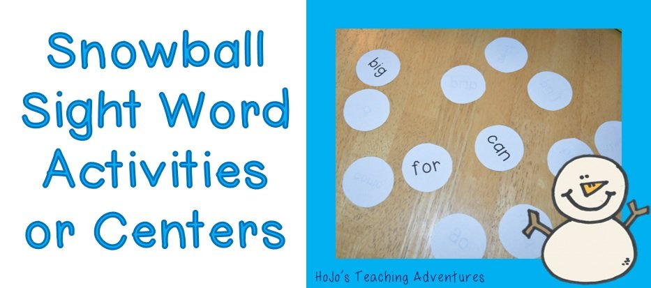 Snowball Winter Sight Word Centers & Activities