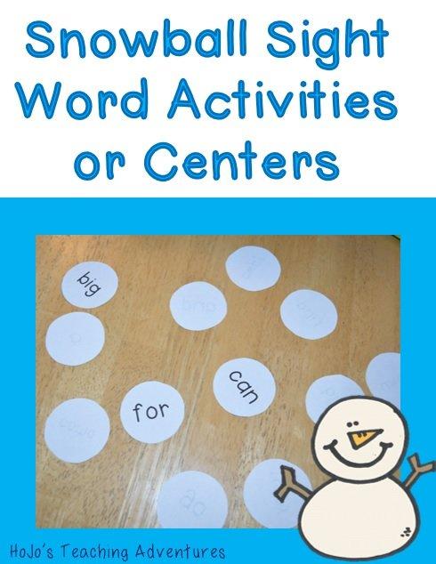 Winter Sight Word Centers & Activities for preschool, Kindergarten, and 1st Grade students