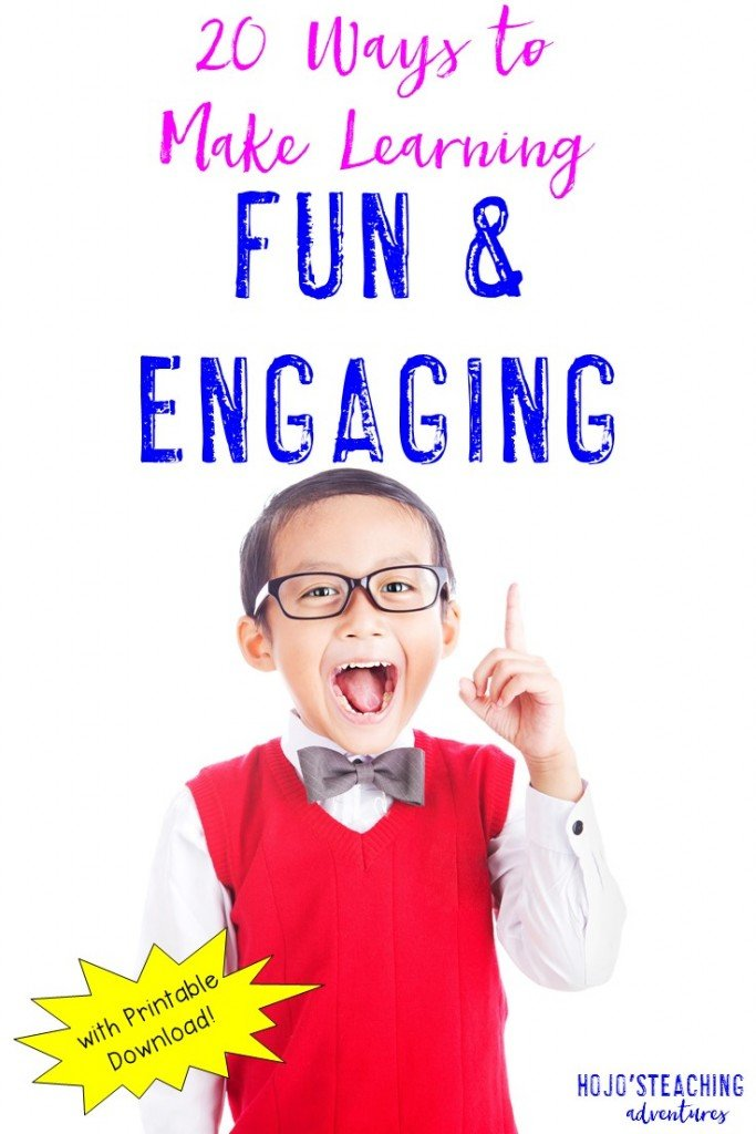 Are your students bored? Are they disengaged? Here are 20 ways to make learning fun and engaging for students! These will work for ANY grade level, and you can even get a printable to reference. Click through to see all 20 ways!