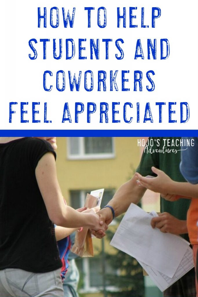 how to help students and coworkers feel appreciated