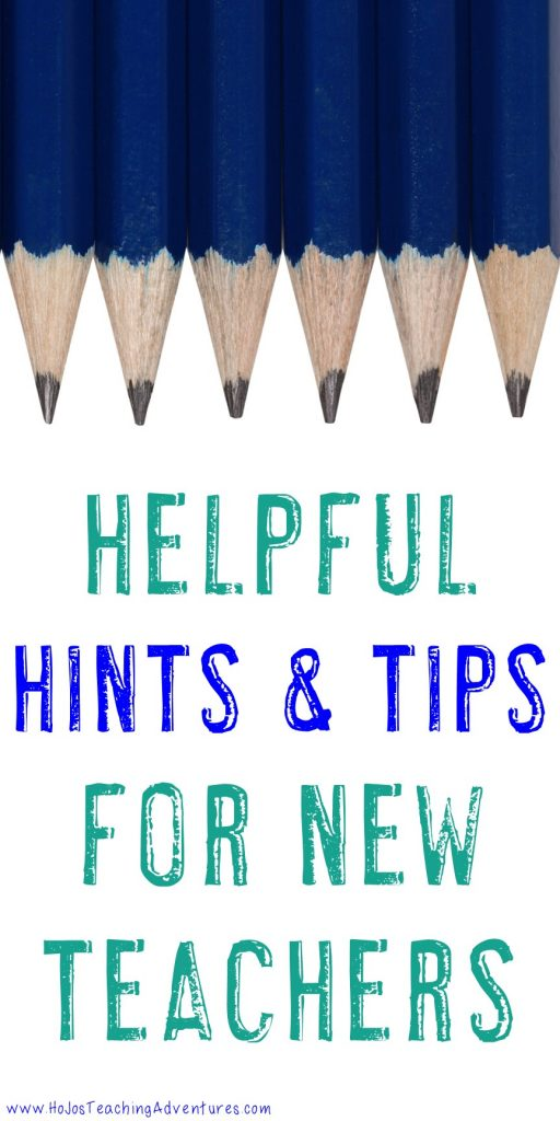 """Image with pencils stating """"Helpful Hints & Tips for New Teachers"""""""