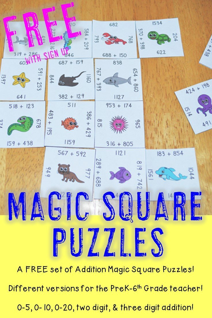 Do you want a free set of Addition Magic Square Puzzles that can be used in your preschool, Kindergarten, 1st, 2nd, 3rd, 4th, 5th, or 6th grade classroom? (Or even in your homeschool?) Then you're going to love these addition 0-5, 0-10, 0-10, and two and three digit - with and without regrouping - Magic Square Puzzles! Click through now to see how you can get these engaging math centers for FREE!