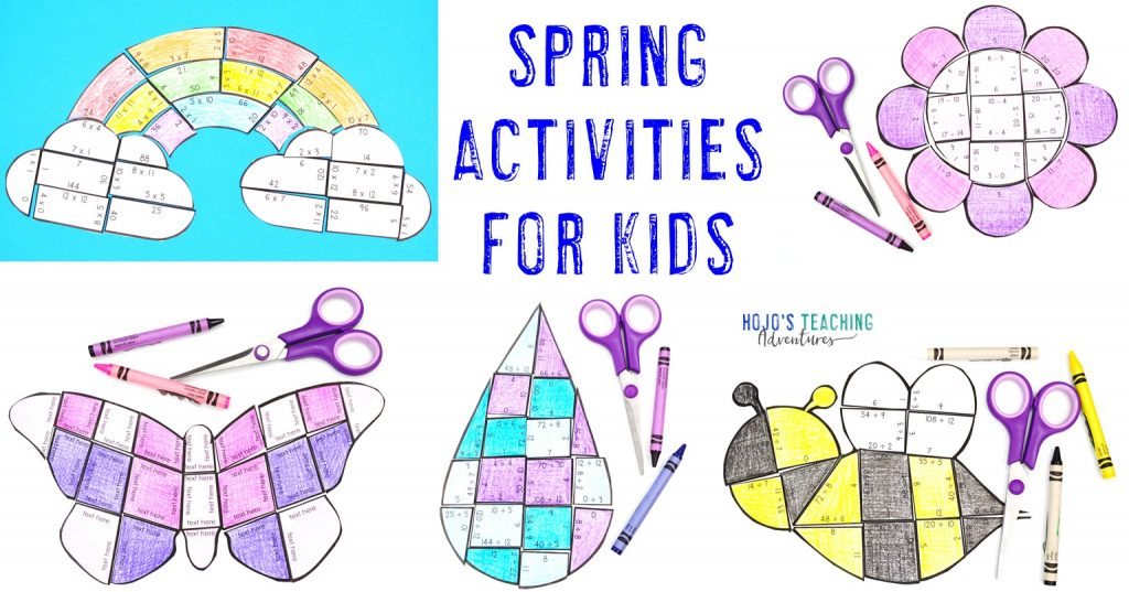Spring Activities for Kids - with pictures of rainbow, flower, butterfly, raindrop, and bee puzzles