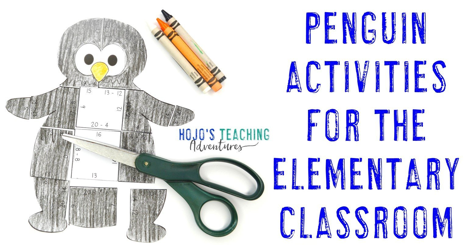 """subtraction puzzle with words """"Penguin Activities for the Elementary Classroom"""""""