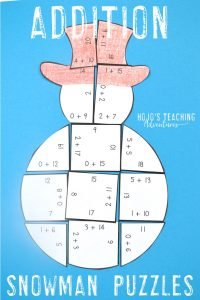 Addition Snowman Puzzles
