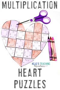 Multiplication Heart Puzzle for Valentine's Day Math Centers