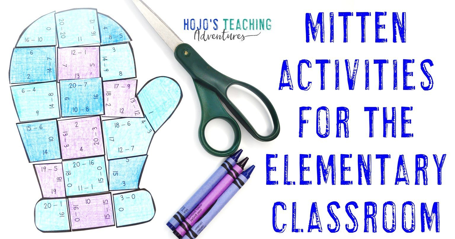 """subtraction mitten puzzle with text """"Mitten Activities for the Elementary Classroom"""""""