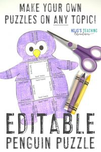 Click to purchase the EDITABLE penguin puzzle on TpT!