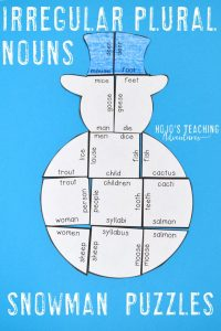 Irregular Plural Nouns Snowman Puzzles