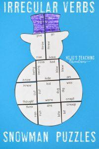 Irregular Verbs Snowman Puzzle