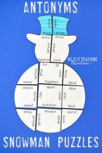 Antonyms Snowmany Literacy Puzzles