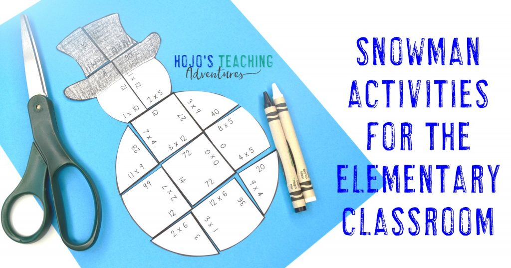 "multiplication snowman puzzle with text ""Snowman Activities for the Elementary Classroom"""