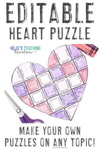 Editable Valentine's Day Activities - make your own puzzles on ANY topic