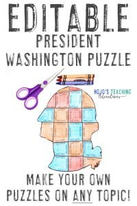 Click here to buy an EDITABLE George Washington Presidents Day Puzzle!