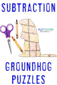 Click to buy Subtraction Groundhog Day Puzzles!