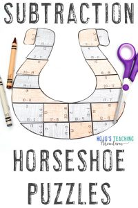 Horseshoe Subtraction Math Puzzles