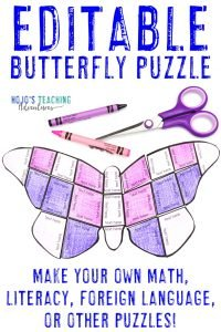 Click here to buy an EDITABLE butterfly puzzle!