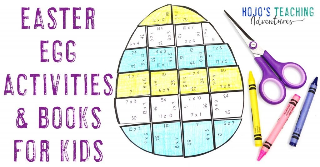 Easter Egg Activities & Books for Kids with a multiplication Easter egg activity puzzle shown
