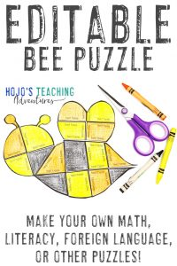 Click here to buy an EDITABLE bee puzzle!