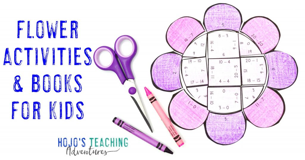 Flower Activities & Books for Kids - with image of a subtraction puzzle