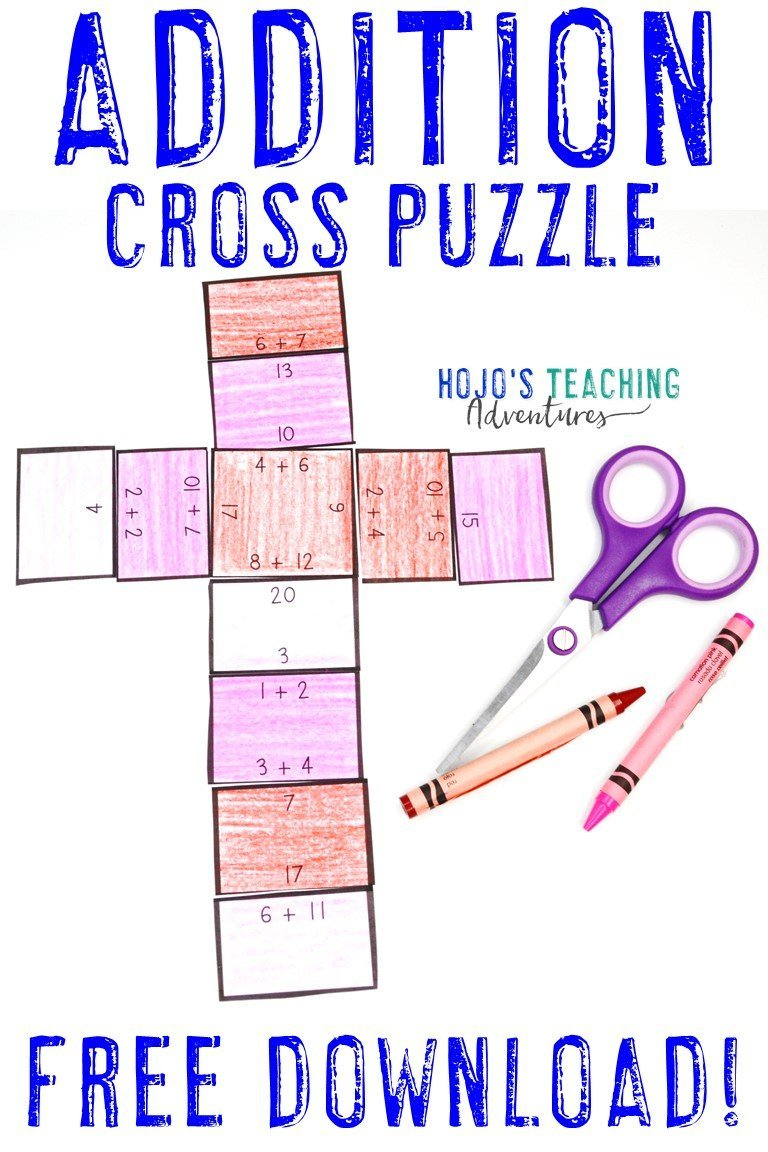 Addition Cross Puzzle - Click to get your FREE download!