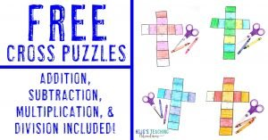 FREE Cross Puzzles - addition, subtraction, multiplication, & division puzzles included (with pictures of all four puzzles in action)