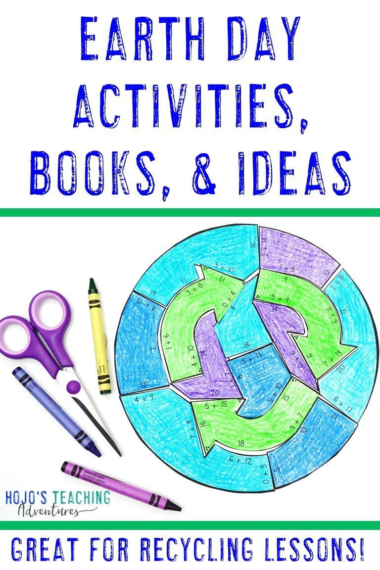 Earth Day Activities, Books, & Ideas - with picture of recycling puzzle
