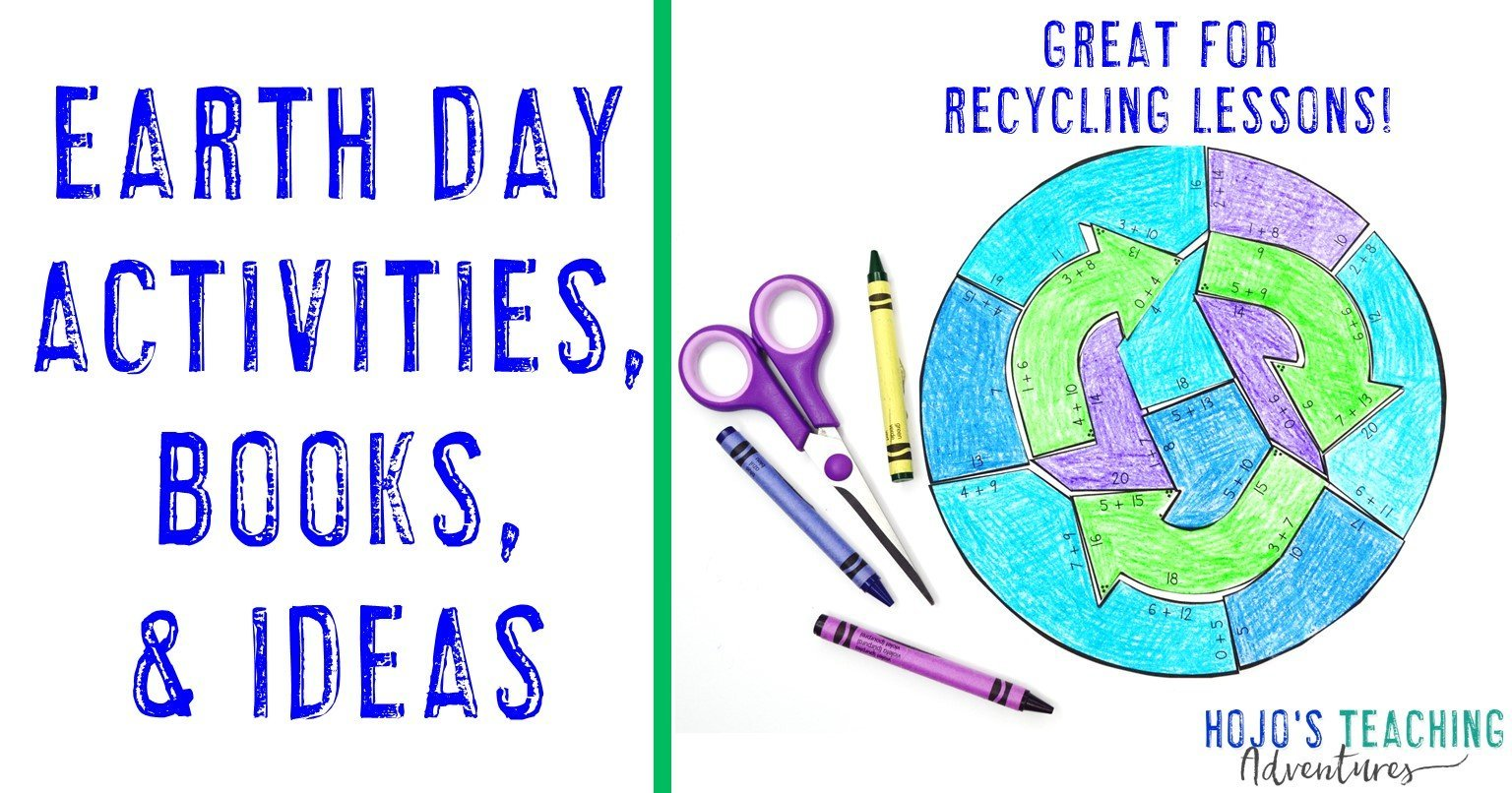 Earth Day Activities, Ideas, & Books - with image of addition Earth Day puzzle