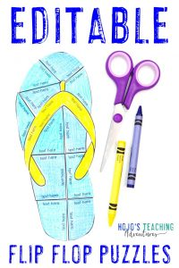 Click to buy your own EDITABLE flip flop activities for 1st, 2nd, 3rd, 4th, 5th, 6th, 7th, or 8th grade!