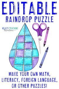 Click to buy your own EDITABLE raindrop puzzle!