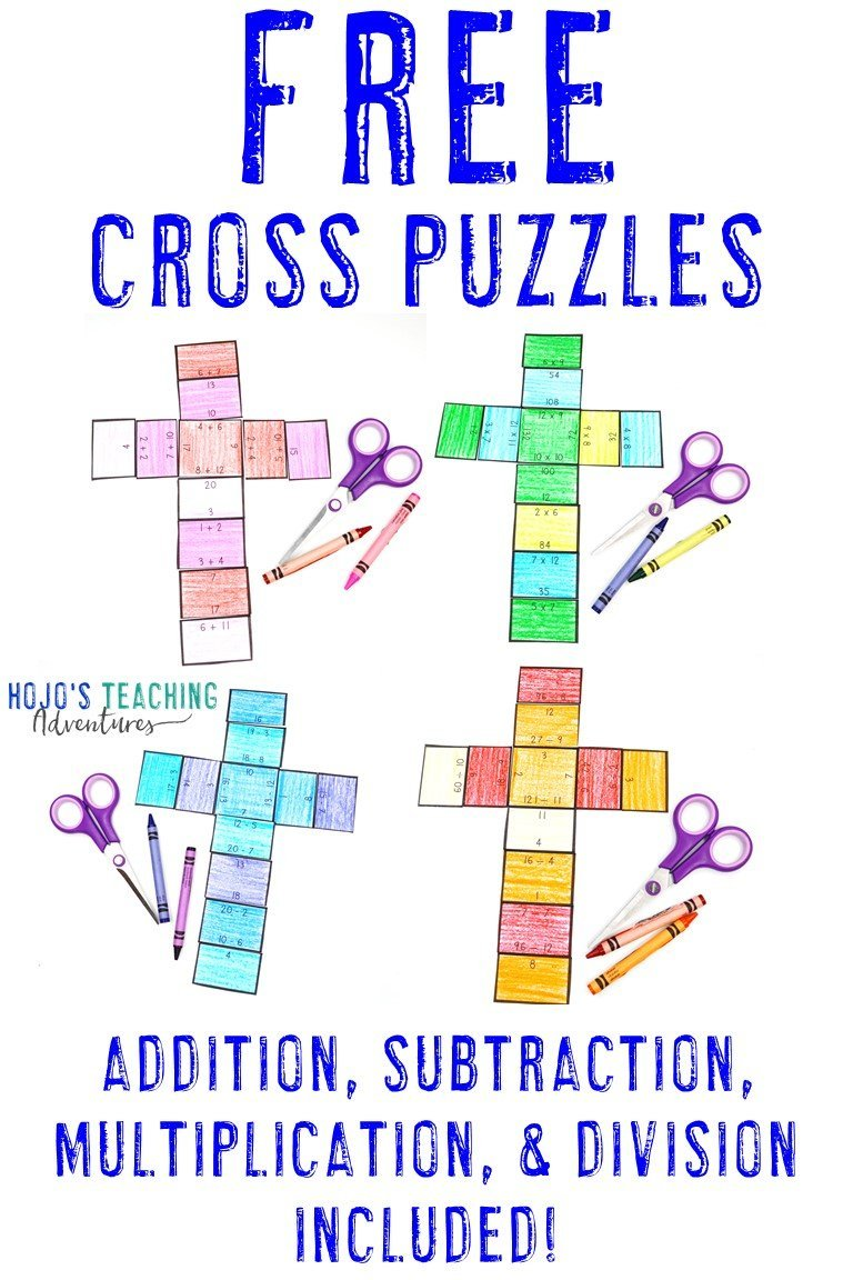 FREE Cross Puzzles - addition, subtraction, multiplication, & division included