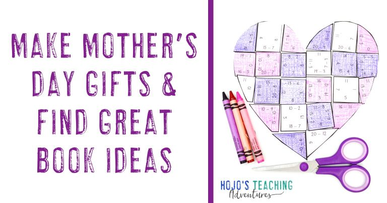 """""""Make Mother's Day Gifts & Find Great Book Ideas"""" with picture of heart-shaped math puzzle"""