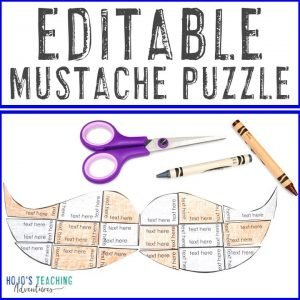 Click here to check out an EDITABLE mustache puzzle!