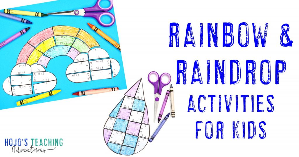 Rainbow & Raindrop Activities for Kids with pictures of puzzles